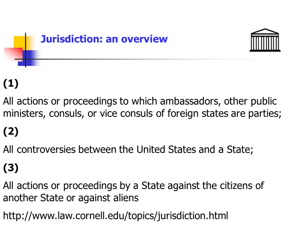 Jurisdiction: an overview (1) All actions or proceedings to which ambassadors, other public ministers, consuls, or vice consuls of foreign states are parties; (2) All controversies between the United States and a State; (3) All actions or proceedings by a State against the citizens of another State or against aliens http://www.law.cornell.edu/topics/jurisdiction.html