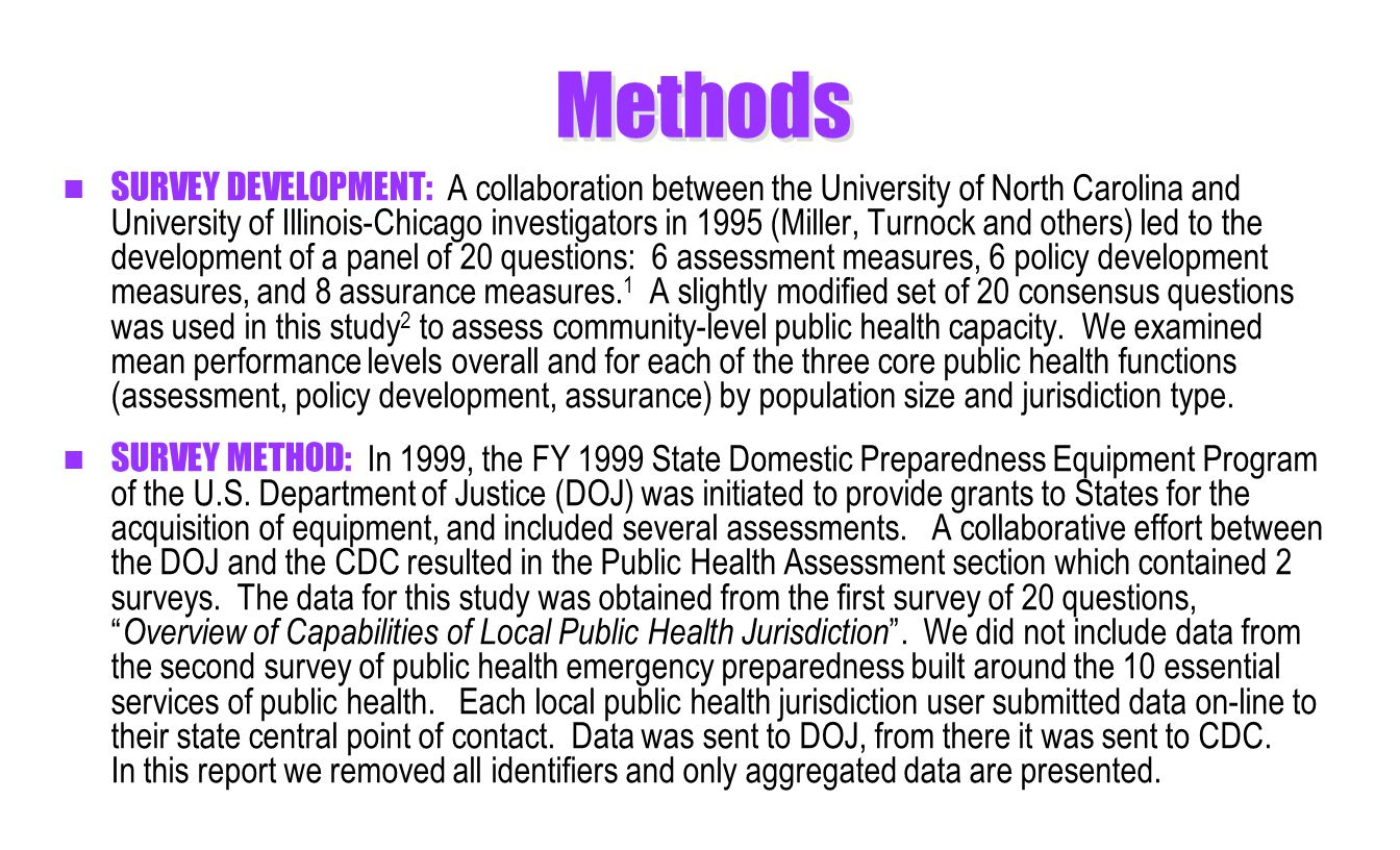 Methods SURVEY DEVELOPMENT: A collaboration between the University of North Carolina and University of Illinois-Chicago investigators in 1995 (Miller, Turnock and others) led to the development of a panel of 20 questions: 6 assessment measures, 6 policy development measures, and 8 assurance measures.