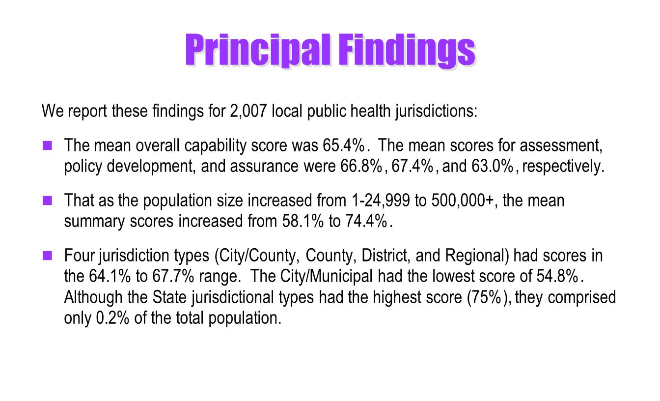 Principal Findings We report these findings for 2,007 local public health jurisdictions: The mean overall capability score was 65.4%.