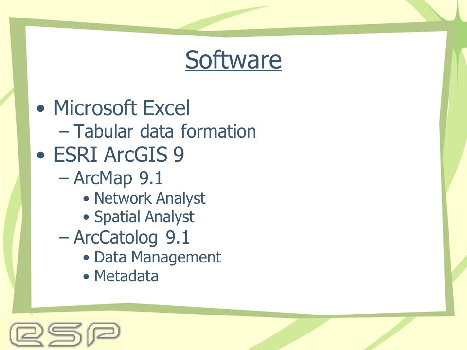Software Microsoft Excel –Tabular data formation ESRI ArcGIS 9 –ArcMap 9.1 Network Analyst Spatial Analyst –ArcCatolog 9.1 Data Management Metadata