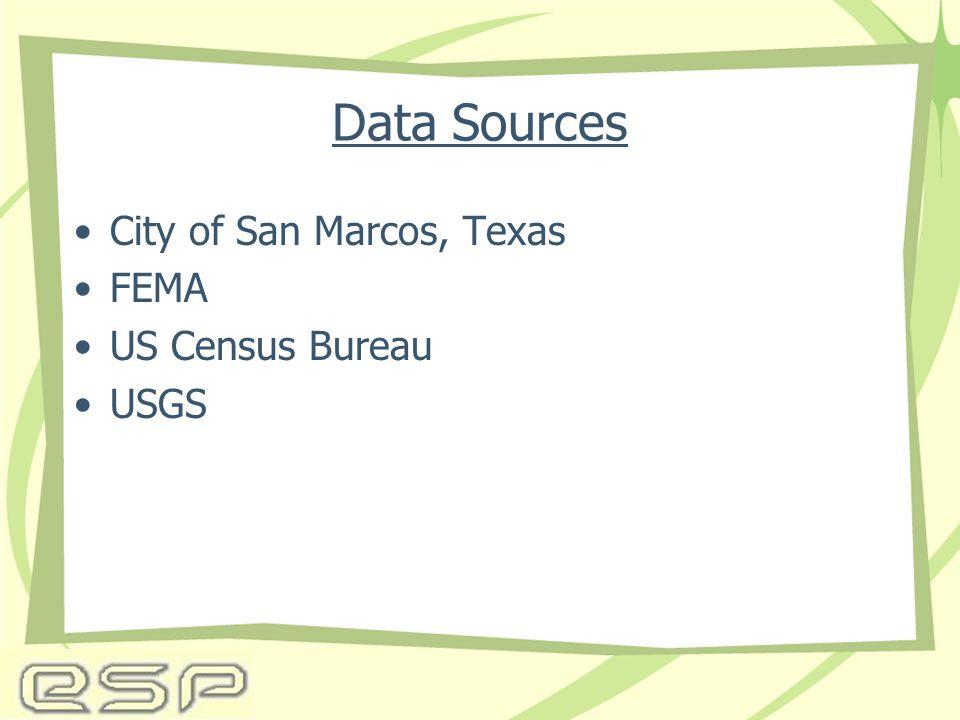 Data Sources City of San Marcos, Texas FEMA US Census Bureau USGS