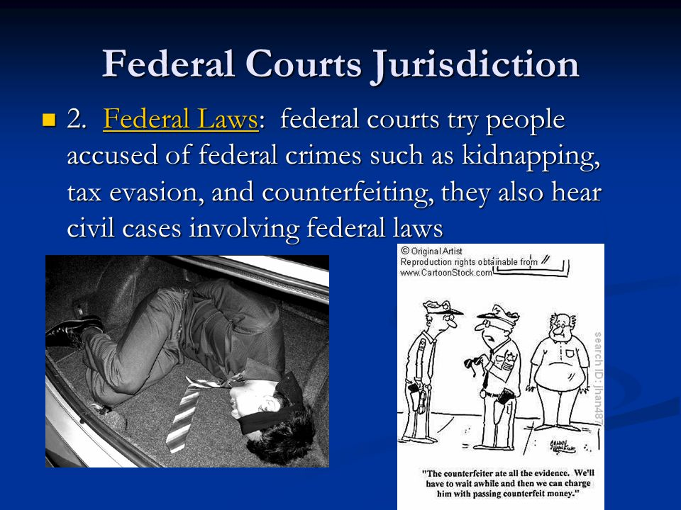 Federal Courts Jurisdiction 2. Federal Laws: federal courts try people accused of federal crimes such as kidnapping, tax evasion, and counterfeiting,