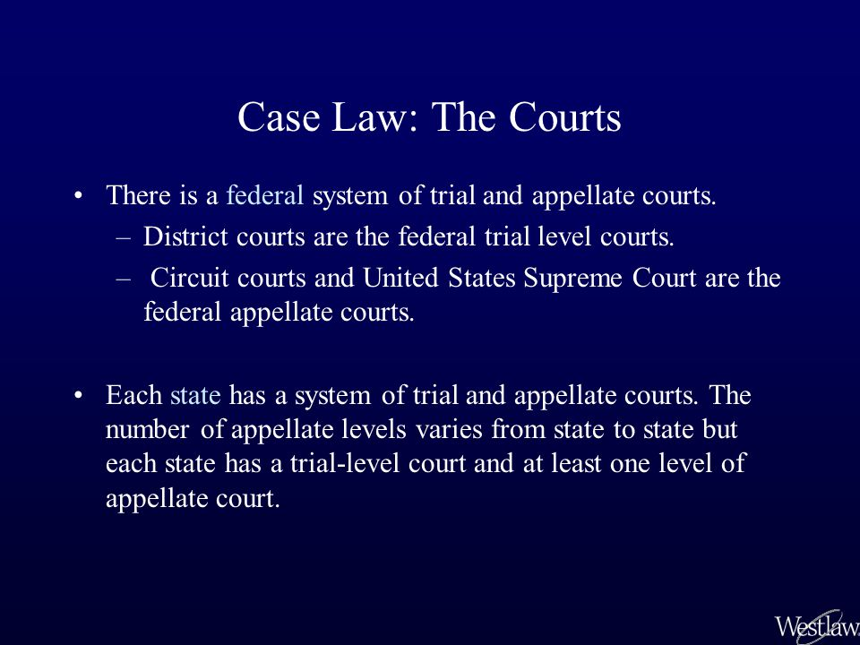 Federal Court System State Court Systems District courts (trial-level) (Southern District of New York, District of Minnesota) State trial-level courts Courts of appeals for the 13 federal circuits Most, but not all, states have at least one level of intermediate court(s) of appeal(s) State supreme court United States Supreme Court