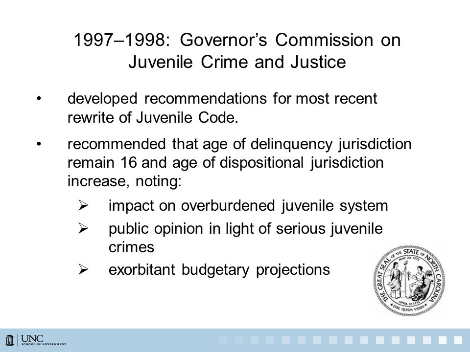 1997–1998: Governor's Commission on Juvenile Crime and Justice developed recommendations for most recent rewrite of Juvenile Code.