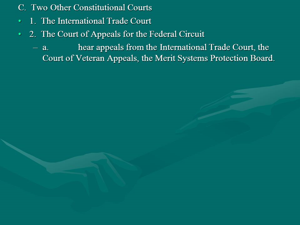 C. Two Other Constitutional Courts 1. The International Trade Court1. The International Trade Court 2. The Court of Appeals for the Federal Circuit2.