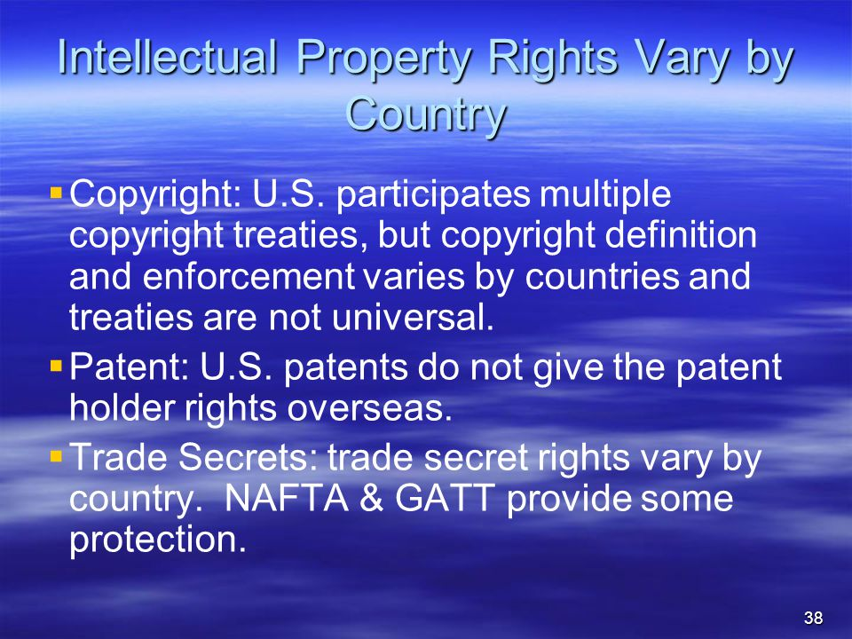 Intellectual Property Rights Vary by Country   Copyright: U.S.