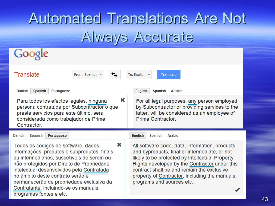 Automated Translations Are Not Always Accurate 43