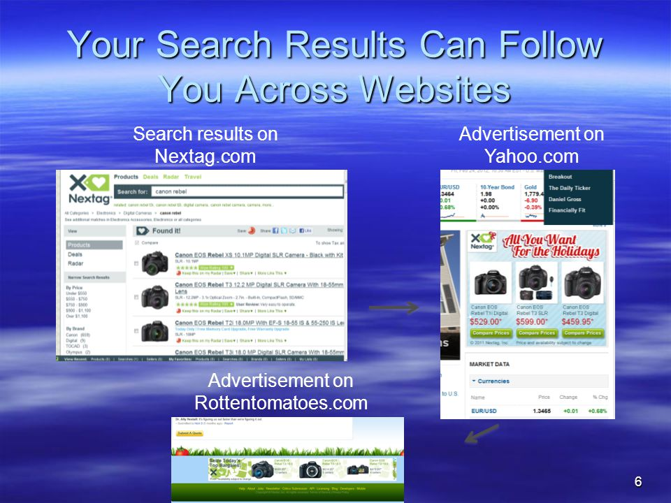 Your Search Results Can Follow You Across Websites 6 Advertisement on Yahoo.com Search results on Nextag.com Advertisement on Rottentomatoes.com