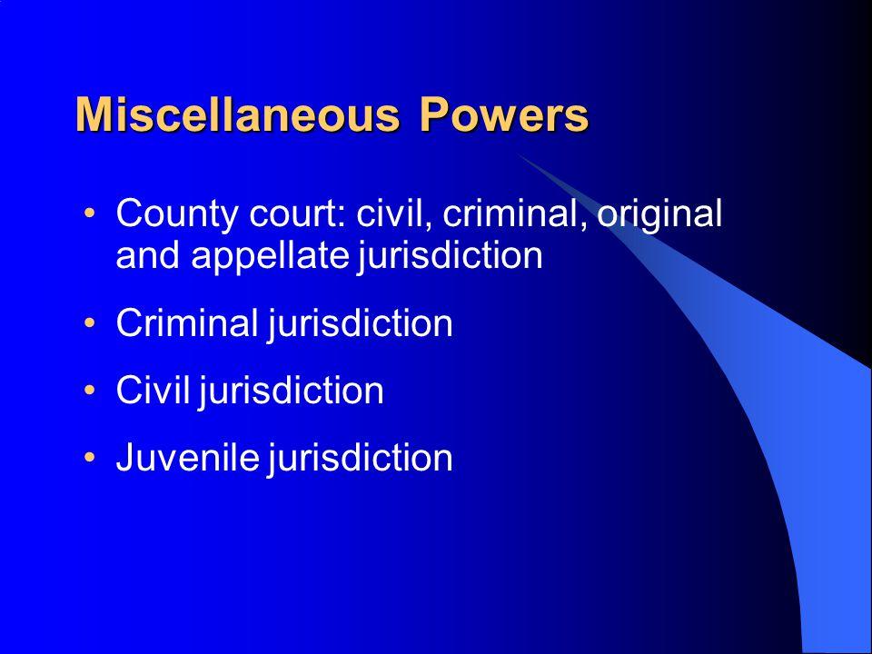 Miscellaneous Powers County court: civil, criminal, original and appellate jurisdiction Criminal jurisdiction Civil jurisdiction Juvenile jurisdiction