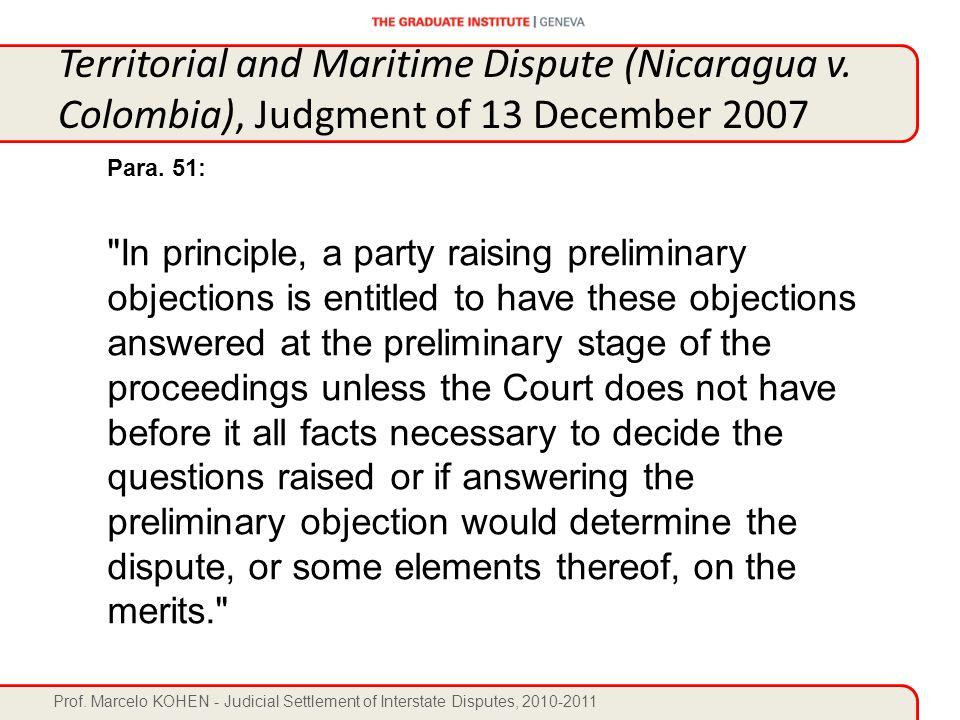 Prof. Marcelo KOHEN - Judicial Settlement of Interstate Disputes, 2010-2011