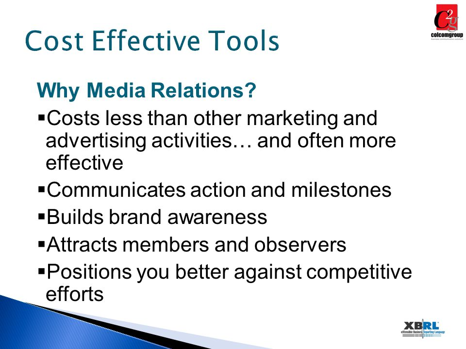 Cost Effective Tools Why Media Relations.