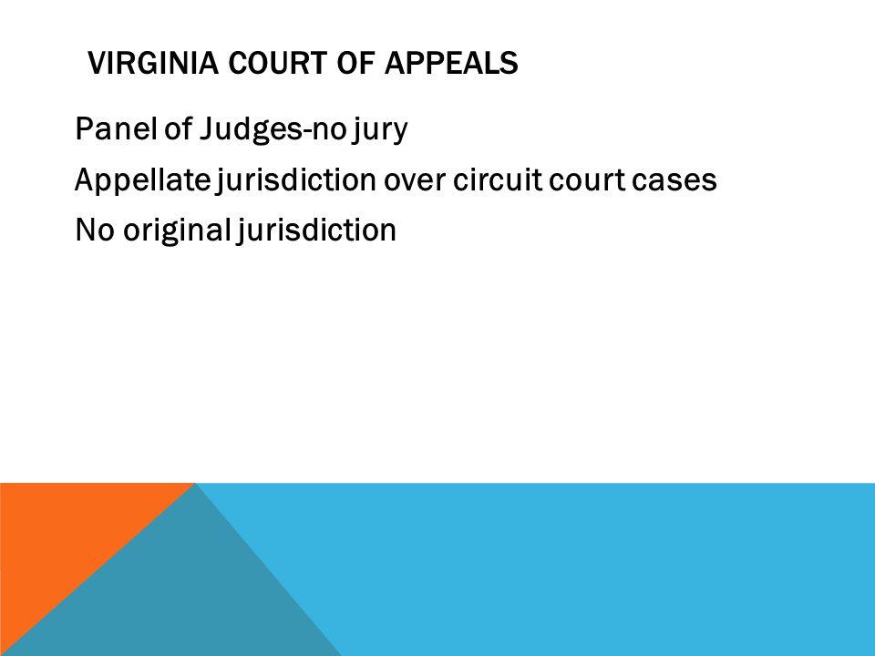VIRGINIA COURT OF APPEALS Panel of Judges-no jury Appellate jurisdiction over circuit court cases No original jurisdiction