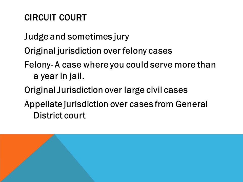 CIRCUIT COURT Judge and sometimes jury Original jurisdiction over felony cases Felony- A case where you could serve more than a year in jail.