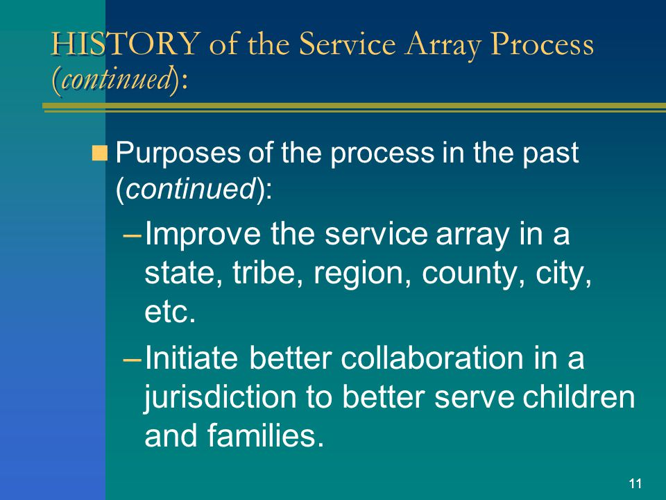 11 HISTORY of the Service Array Process (continued): Purposes of the process in the past (continued): –Improve the service array in a state, tribe, region, county, city, etc.