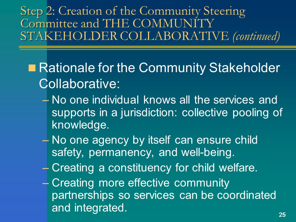 25 Step 2: Creation of the Community Steering Committee and THE COMMUNITY STAKEHOLDER COLLABORATIVE (continued) Rationale for the Community Stakeholder Collaborative: –No one individual knows all the services and supports in a jurisdiction: collective pooling of knowledge.