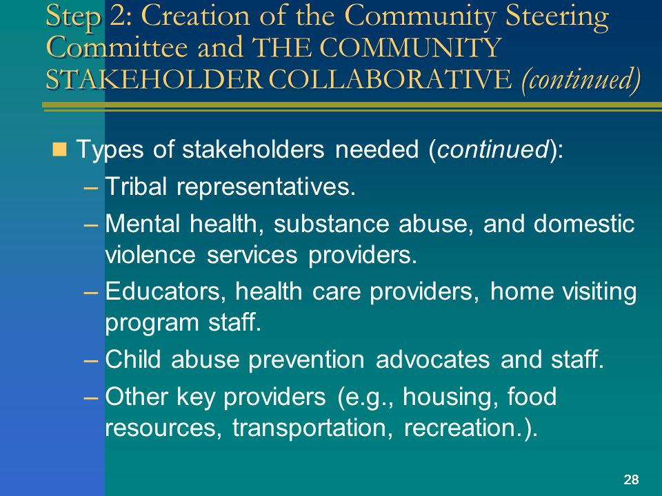 28 Step 2: Creation of the Community Steering Committee and THE COMMUNITY STAKEHOLDER COLLABORATIVE (continued) Types of stakeholders needed (continued): –Tribal representatives.