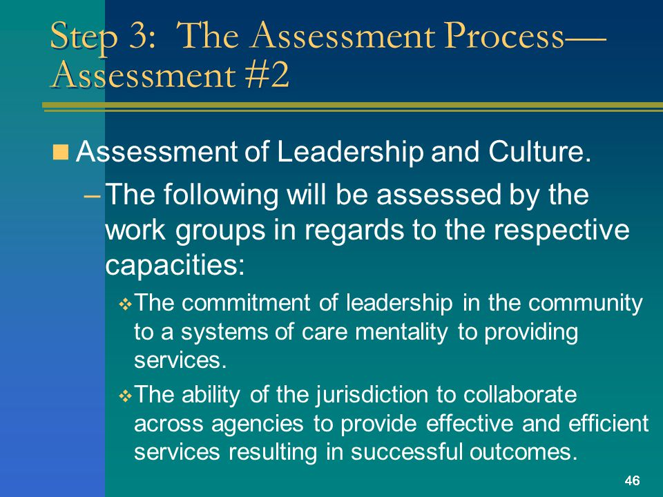 46 Step 3: The Assessment Process— Assessment #2 Assessment of Leadership and Culture.