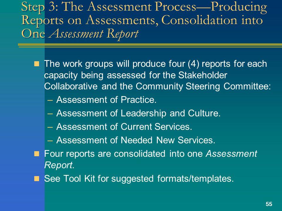 55 Step 3: The Assessment Process—Producing Reports on Assessments, Consolidation into One Assessment Report The work groups will produce four (4) reports for each capacity being assessed for the Stakeholder Collaborative and the Community Steering Committee: –Assessment of Practice.