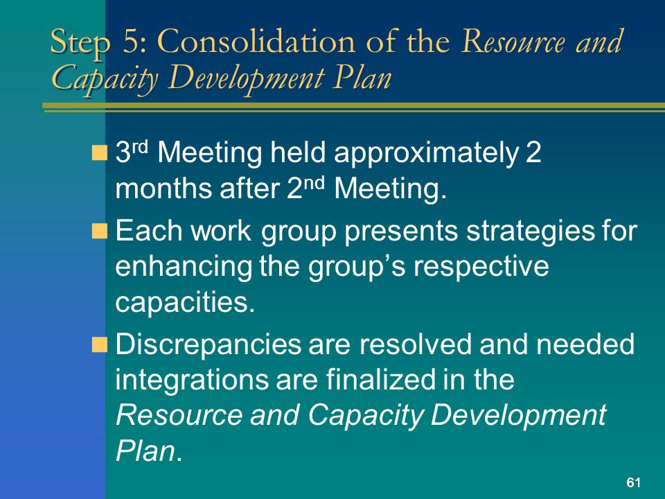 61 Step 5: Consolidation of the Resource and Capacity Development Plan 3 rd Meeting held approximately 2 months after 2 nd Meeting.