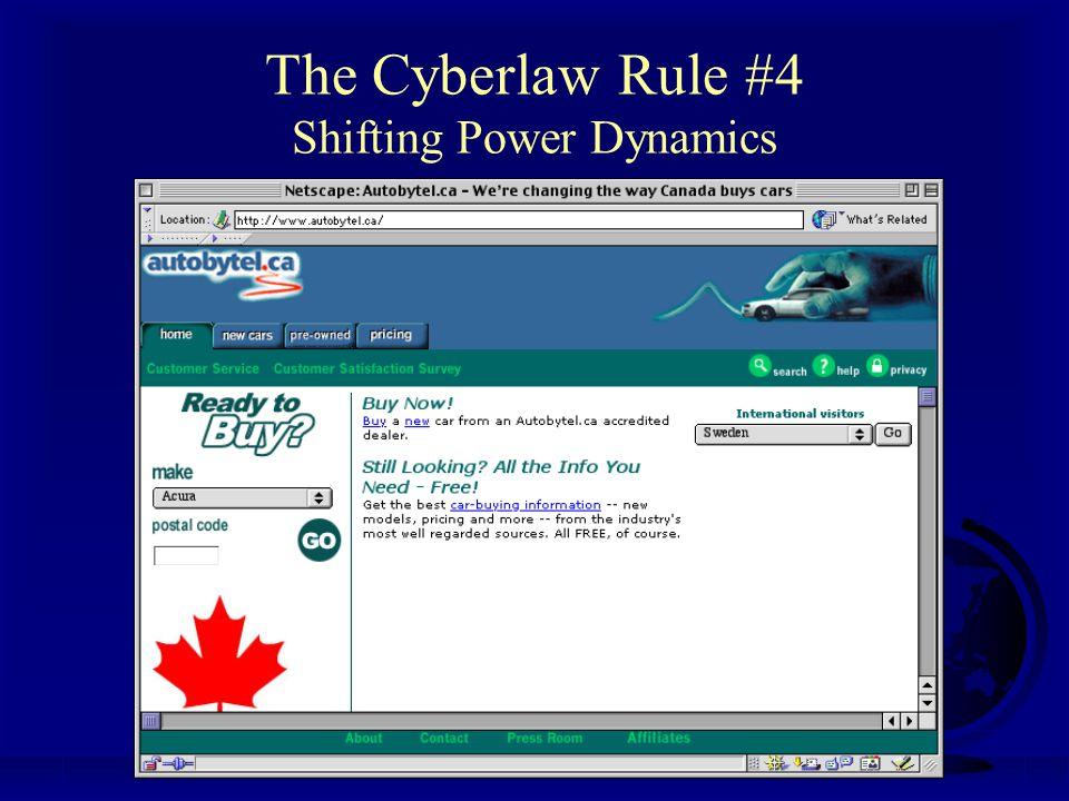Professor Michael A. Geist www.lawbytes.com The Cyberlaw Rule #4 Shifting Power Dynamics