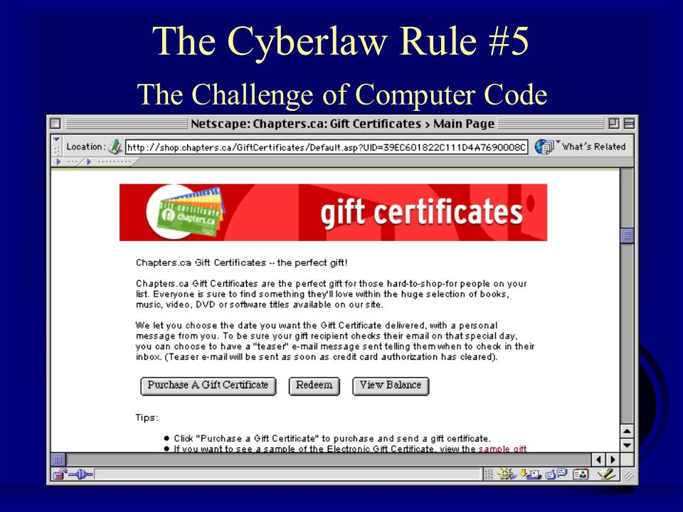 Professor Michael A. Geist www.lawbytes.com The Cyberlaw Rule #5 The Challenge of Computer Code