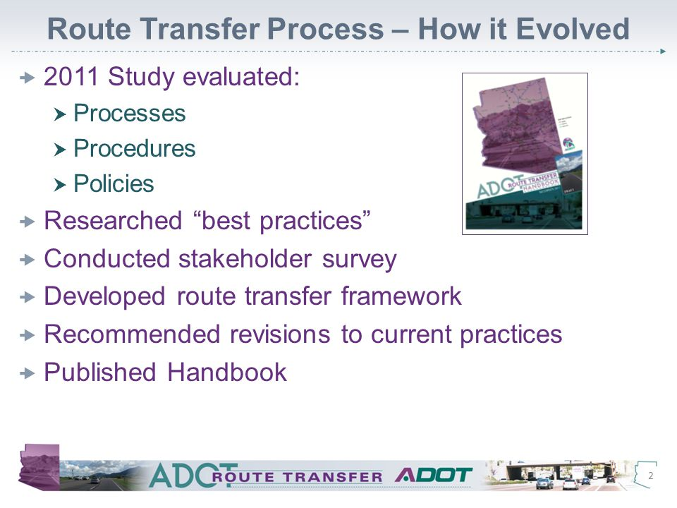 Sample Evaluation Matrix – Excerpt 13 Matrices in handbook for transfer to state system and to local/tribal road systems