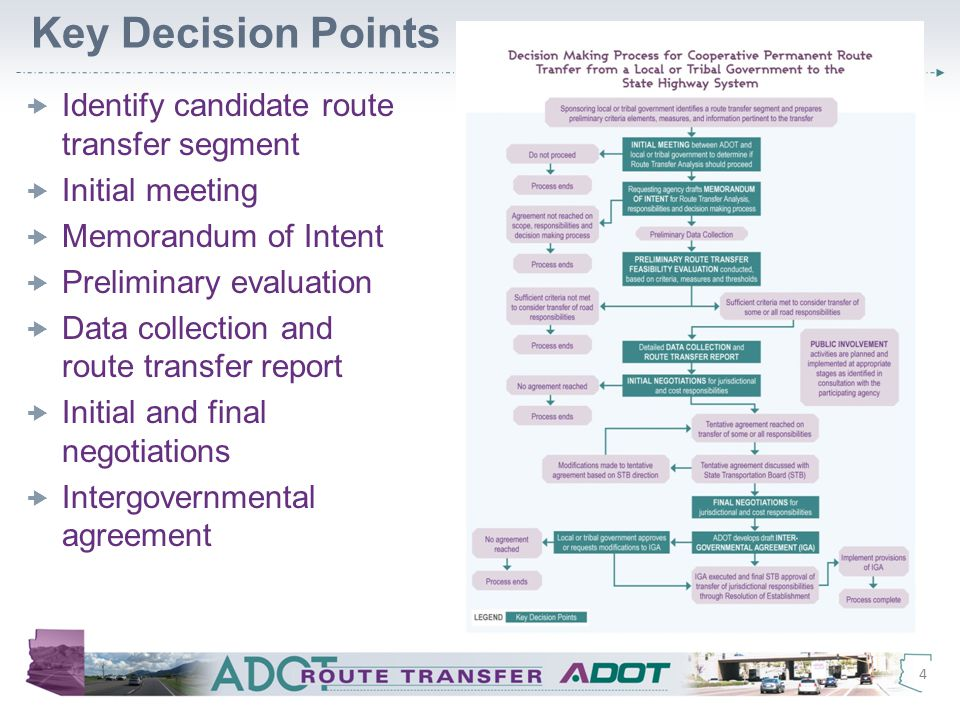 Key Decision Points  Identify candidate route transfer segment  Initial meeting  Memorandum of Intent  Preliminary evaluation  Data collection and route transfer report  Initial and final negotiations  Intergovernmental agreement 4