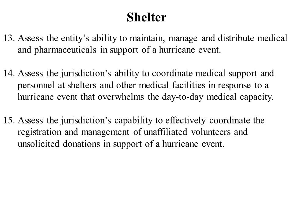 Shelter 13.Assess the entity's ability to maintain, manage and distribute medical and pharmaceuticals in support of a hurricane event.