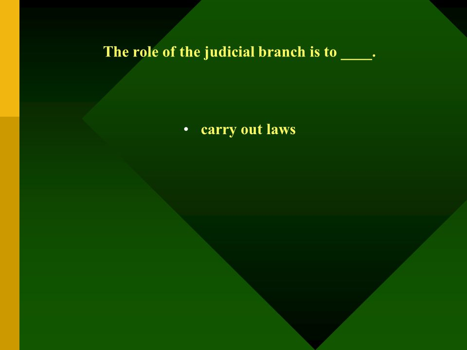 The role of the judicial branch is to ____. carry out laws