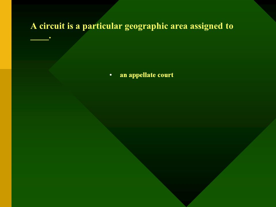 A circuit is a particular geographic area assigned to ____. an appellate court