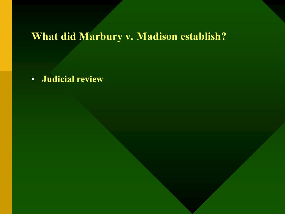What did Marbury v. Madison establish? Judicial review