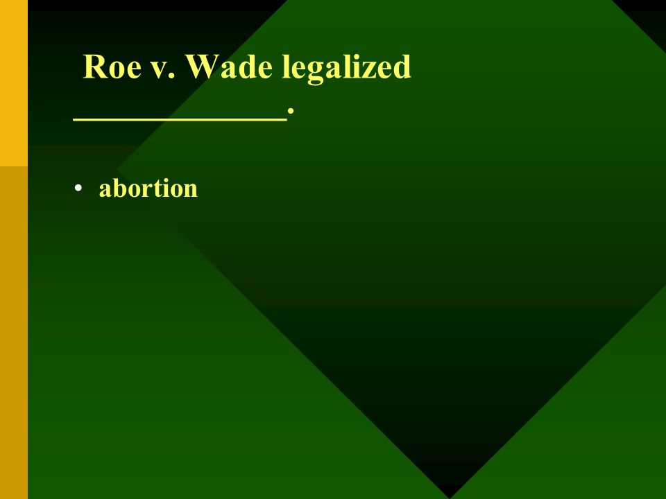 Roe v. Wade legalized ____________. abortion