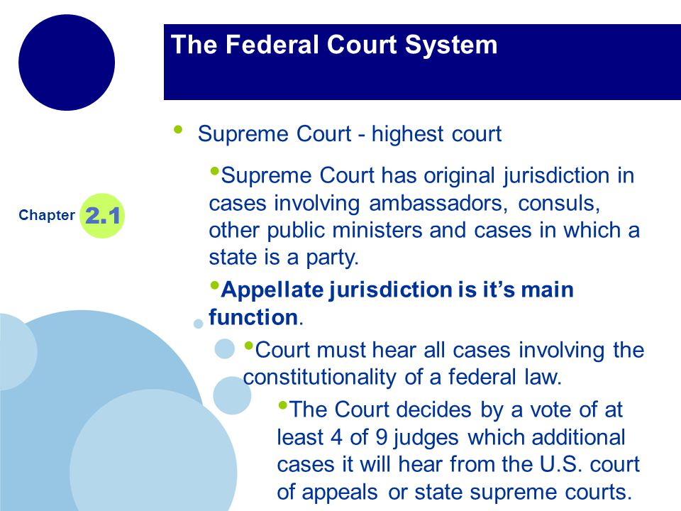 www.company.com Company LOGO The Federal Court System Supreme Court - highest court Chapter 2.1 Supreme Court has original jurisdiction in cases involving ambassadors, consuls, other public ministers and cases in which a state is a party.