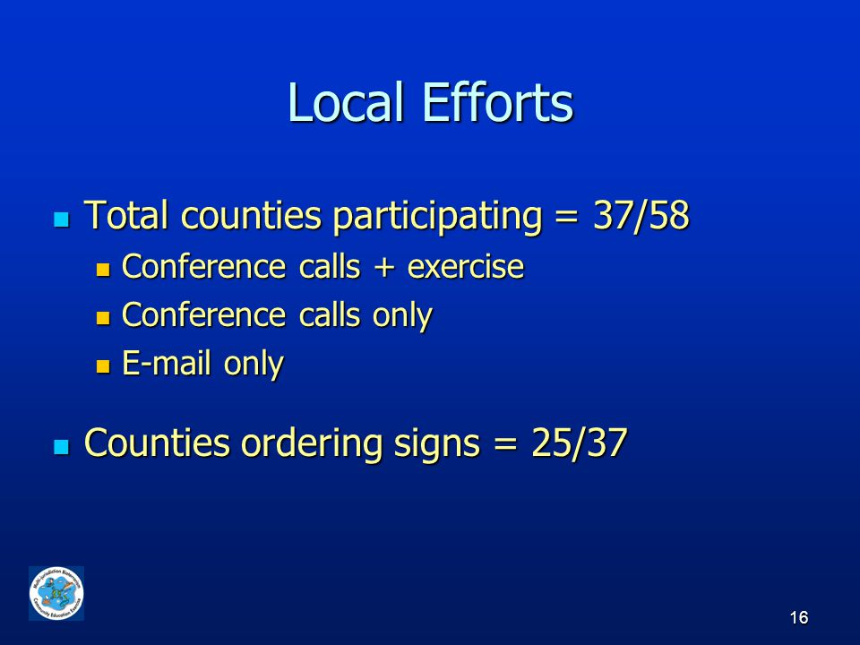 16 Local Efforts Total counties participating = 37/58 Total counties participating = 37/58 Conference calls + exercise Conference calls + exercise Conference calls only Conference calls only E-mail only E-mail only Counties ordering signs = 25/37 Counties ordering signs = 25/37
