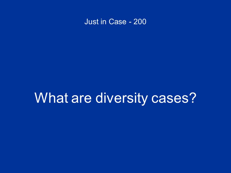 Just in Case - 200 What are diversity cases