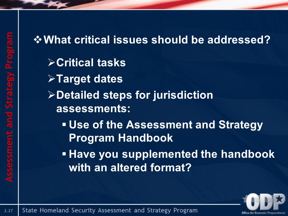State Homeland Security Assessment and Strategy Program 2.27  What critical issues should be addressed?  Critical tasks  Target dates  Detailed st