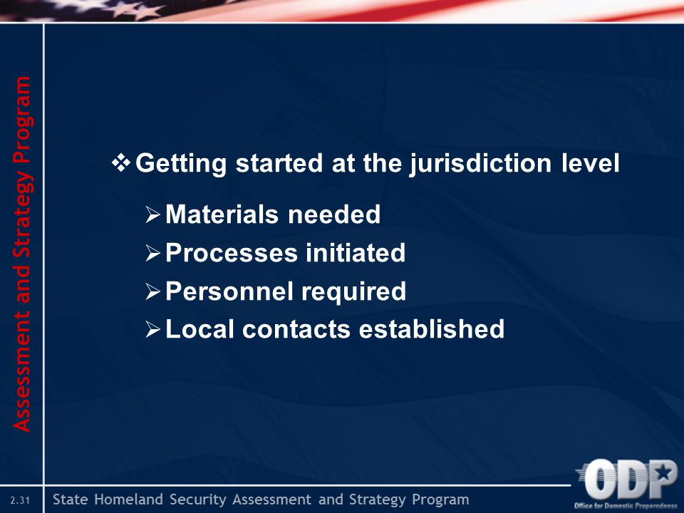State Homeland Security Assessment and Strategy Program 2.31  Getting started at the jurisdiction level  Materials needed  Processes initiated  Personnel required  Local contacts established Assessment and Strategy Program