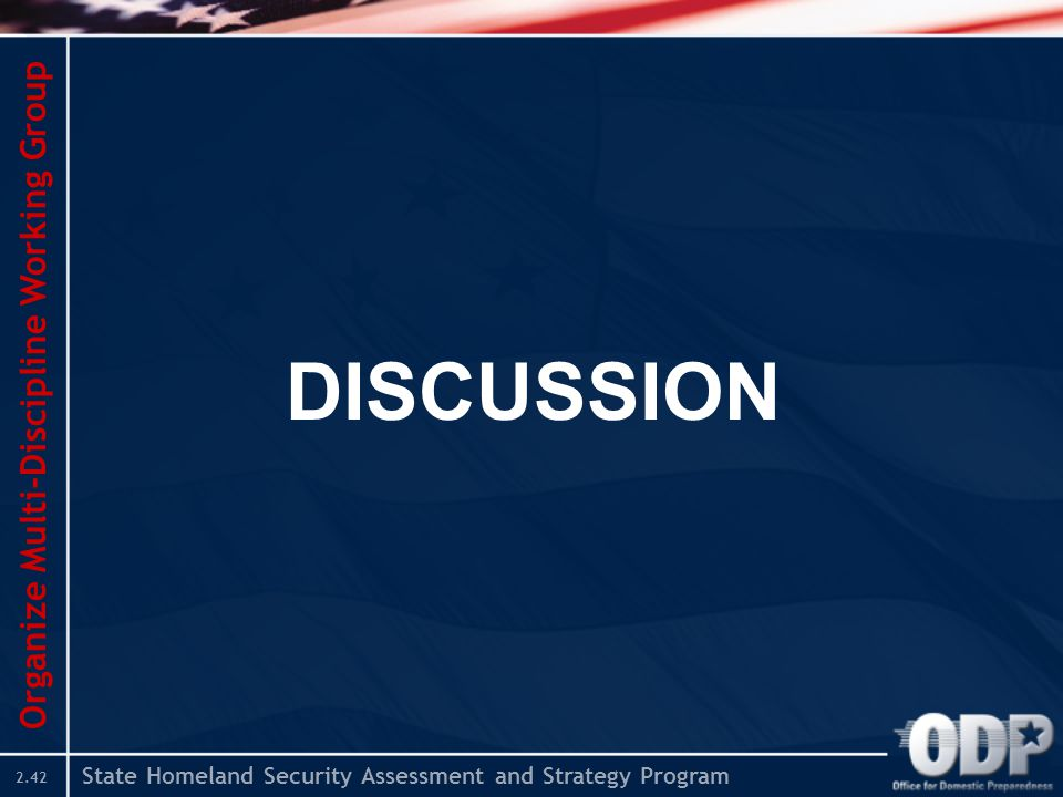 State Homeland Security Assessment and Strategy Program 2.42 DISCUSSION Organize Multi-Discipline Working Group