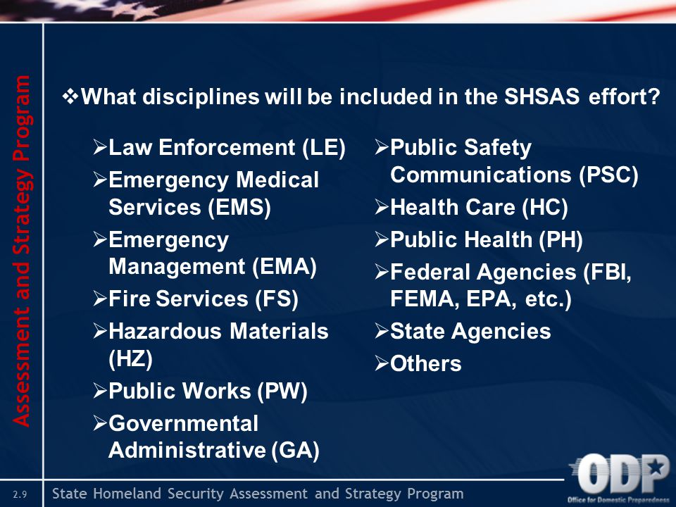 State Homeland Security Assessment and Strategy Program 2.9 Assessment and Strategy Program  What disciplines will be included in the SHSAS effort? 
