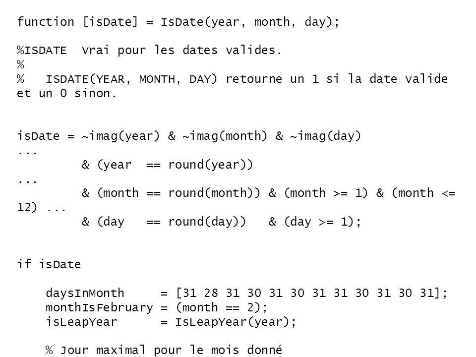 function [isDate] = IsDate(year, month, day); %ISDATE Vrai pour les dates valides. % % ISDATE(YEAR, MONTH, DAY) retourne un 1 si la date valide et un