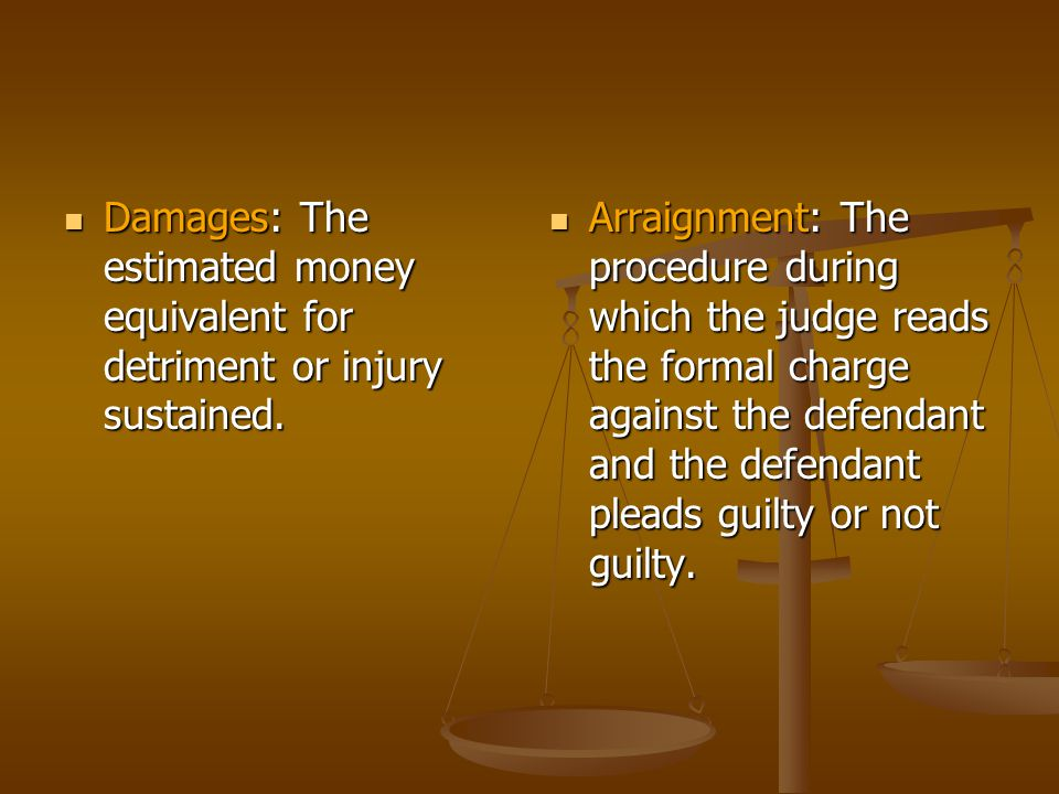 Plaintiff: The person who brings charges in court.