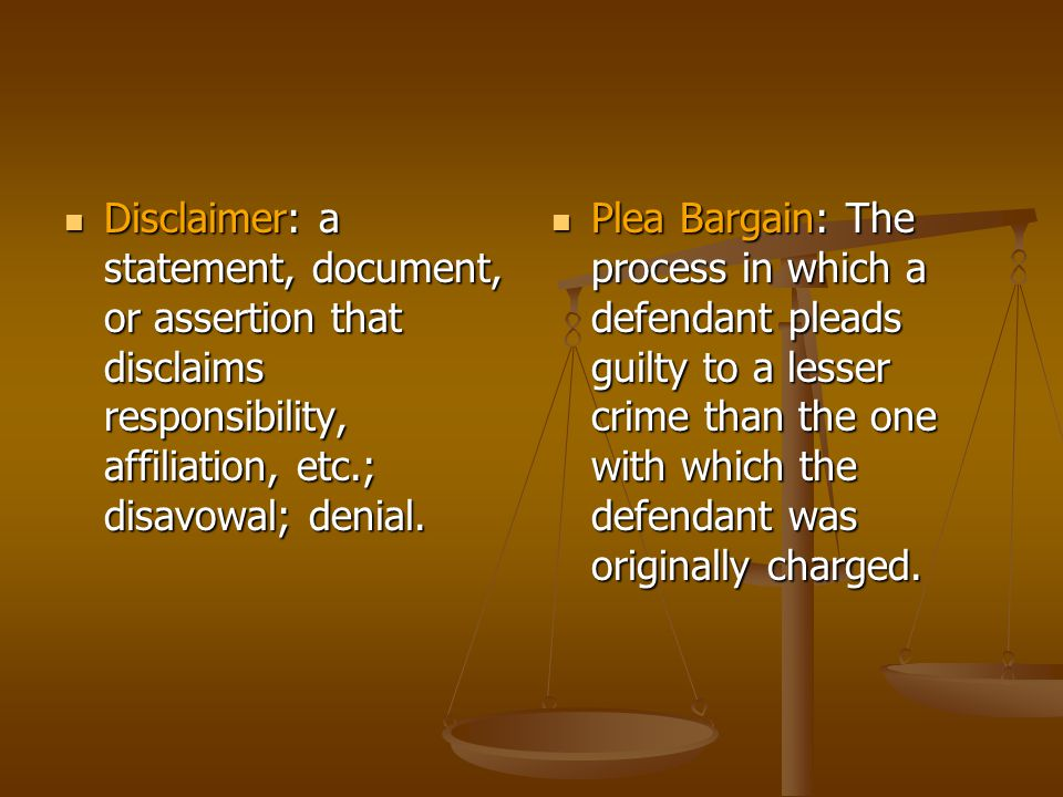 Disclaimer: a statement, document, or assertion that disclaims responsibility, affiliation, etc.; disavowal; denial.