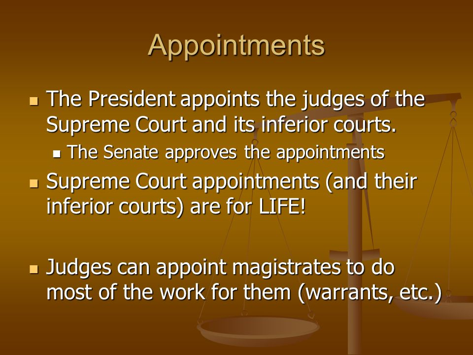 Appointments The President appoints the judges of the Supreme Court and its inferior courts.