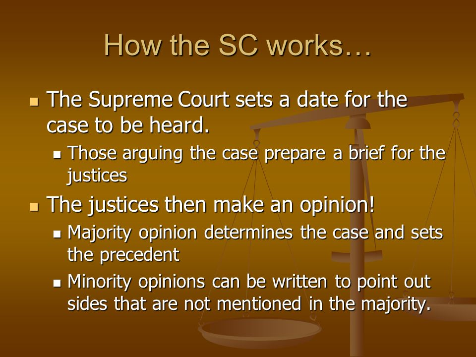 How the SC works… The Supreme Court sets a date for the case to be heard.
