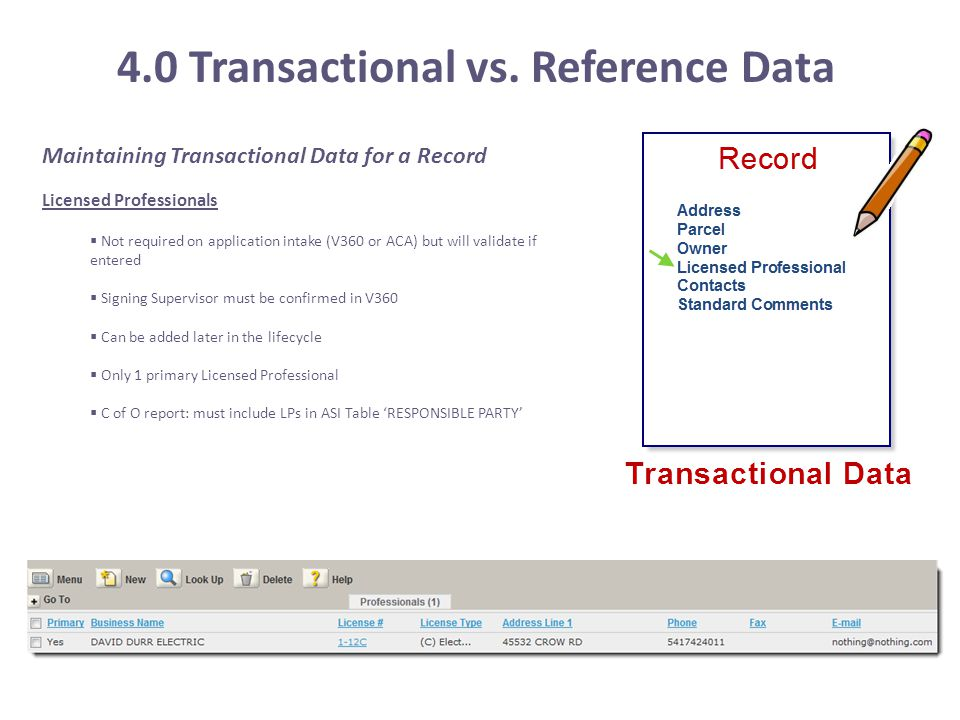 4.0 Transactional vs. Reference Data Maintaining Transactional Data for a Record Licensed Professionals  Not required on application intake (V360 or