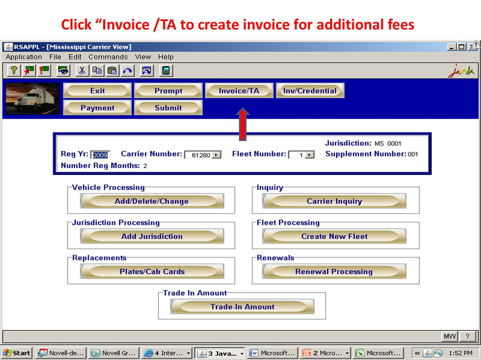 Click Invoice /TA to create invoice for additional fees