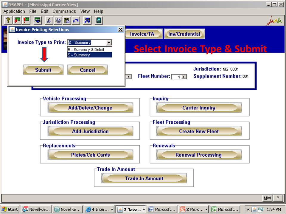 Select Invoice Type & Submit