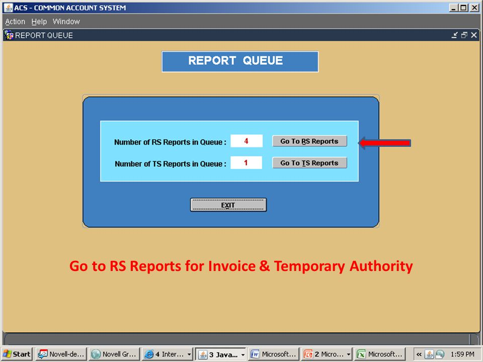 Go to RS Reports for Invoice & Temporary Authority