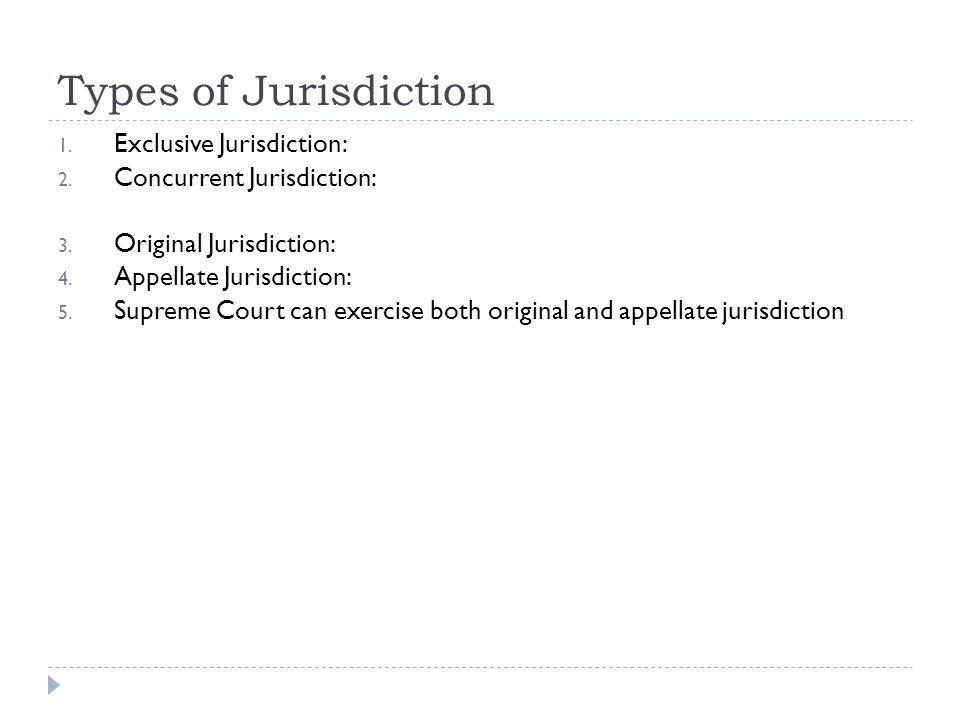 Types of Jurisdiction 1. Exclusive Jurisdiction: 2. Concurrent Jurisdiction: 3. Original Jurisdiction: 4. Appellate Jurisdiction: 5. Supreme Court can