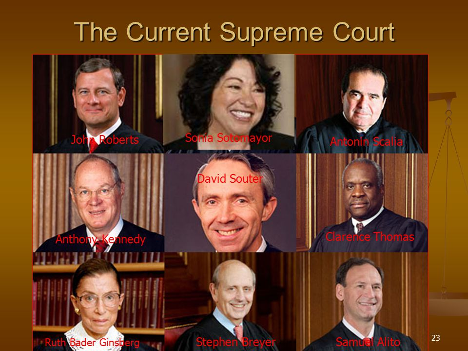 SECTION23 The Current Supreme Court John Roberts Antonin Scalia Sonia Sotomayor Anthony Kennedy David Souter Clarence Thomas Ruth Bader Ginsberg Steph